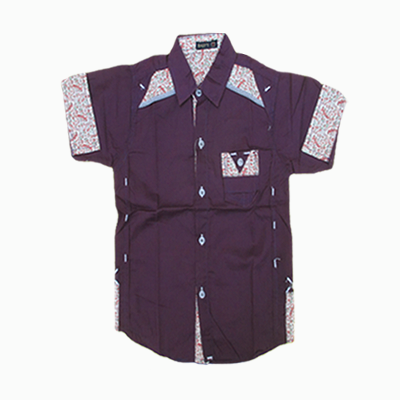 Purple Color Classy Design Half Sleeve Shirt For Boys