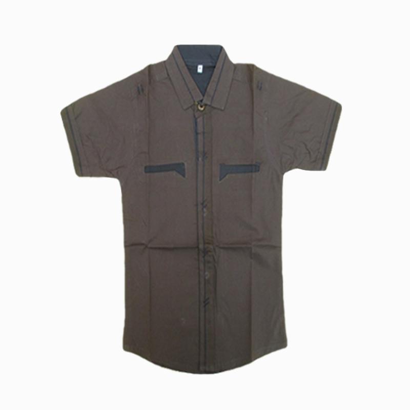 Plain Brown Simple Half Sleeve Shirt For Kids