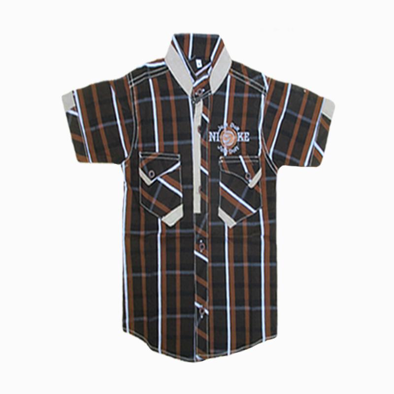 Brown Checkered Half Sleeve Shirt For Kids