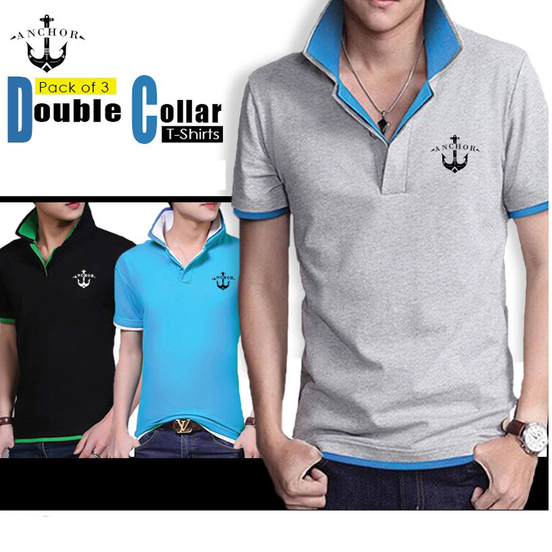 Anchor Double Collar T-Shirts (Pack of 3)