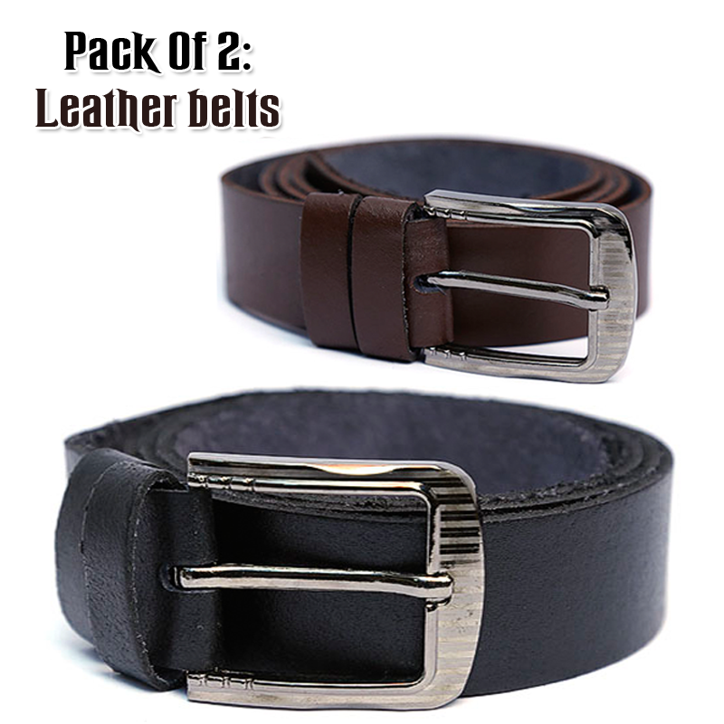 Pack of 2 Genuine Leather Belts For Him