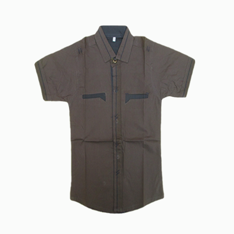 Plain Brown Simple Half Sleeve Shirt For Kids
