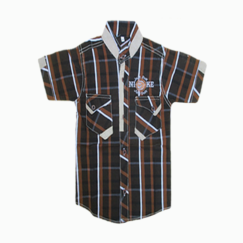 Brown Checkered Half Sleeve Shirt For Kids