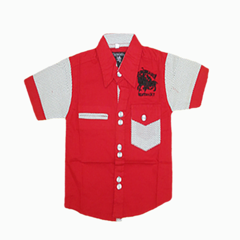 Red With White Half Sleeve Shirt For Kids