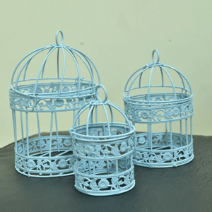 Blue Color Hanging Birdcages Decoration (Pack Of 3)