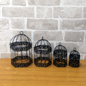 Black Color Birdcages Hanging Birdcages Decoration (Pack Of 04)