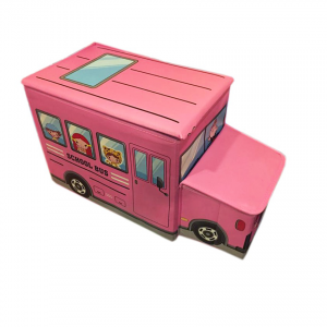 School Bus Toys Storage Box With Sitting Hood - Pink