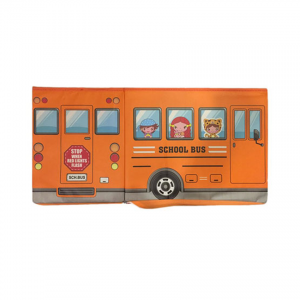 School Bus Toys Storage Box With Sitting Hood - Orange