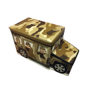 School Bus Toys Storage Box With Sitting Hood - Brown Designs
