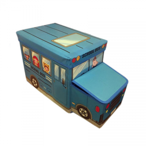 School Bus Toys Storage Box With Sitting Hood - Blue