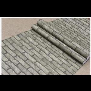 Self Adhesive Brick Wallpaper PVC Waterproof Wall Stickers Brick Wallpaper (Grey Brick) Medium